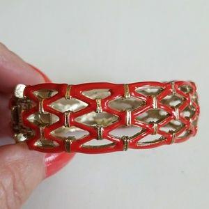 Enamel RED LATTICE Clamper bracelet